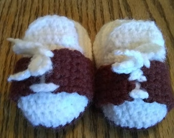 Baby Boy Oxford Shoe Bootees Newborn to 3 months Shower Gift Brown White