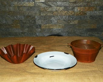 """Candle Tray Primitive Metal Candle Holders, Choose between 3 Styles, Shown with My LED 6"""" Candles"""