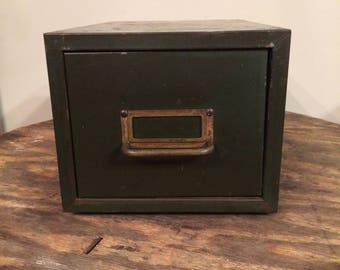 Vintage Metal Card File Box 1960's File Box Vintage Storage