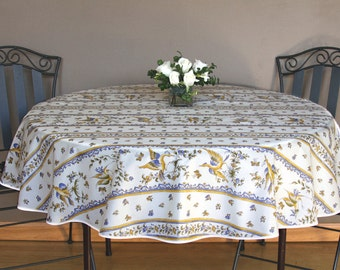 """42 to 60 inch Round Tablecloth  Provence Acrylic Coated - or custom made your size up to 115"""" diameter. Bread basket  & Napkins  available"""