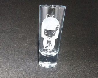Harajuku Girl Etched Shot Glass