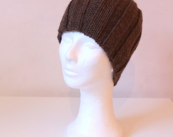 Hand knit beanie hat in brown alpaca wool - made to order