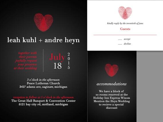 Fingerabdruck Herz Hochzeit Einladung Set Fingerabdruck