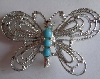Vintage Signed Gerrys Large Silvertone/Turquoise Openwork Butterfly Brooch/Pin