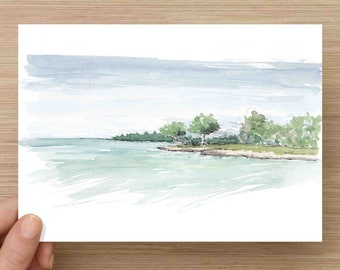 Watercolor Painting of Blue Water and Caribbean Island - Beach, Jamaica, Ocean, Ink Drawing, Sketch, Watercolor, Art, Pen and Ink, 5x7, 8x10