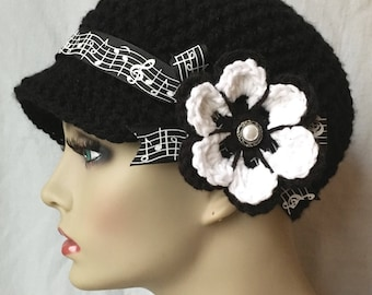 Musical, Womens Hat, Black Newsboy, Musical Notes Ribbon, Flower, Gifts for teachers, Music lovers, Chemo Hat, Birthday Gifts JE148NRF2