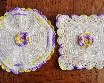 Crochet Potholders Cream with Yellow & Lavender Accents Vintage 1950's Trivets