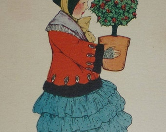 Little Girl in Red Coat Carrying Holly Bush Antique U/S Schmucker TUCK Christmas Postcard