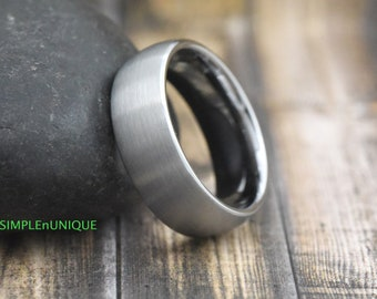 Mens Wedding Band Classic Domed Style Engagment Ring Promise Ring Anniversary Ring Custom Laser Engraving Tungsten Wedding Ring Mens