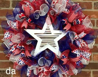 Deco Mesh Americana Wreath
