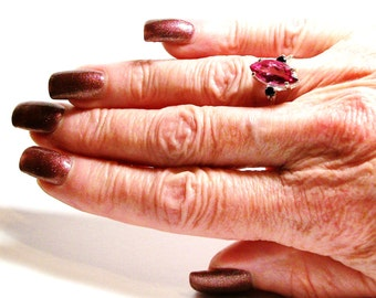 """Pink topaz, topaz ring, topaz accent ring, pink and black, 3 stone ring, anniversary ring, s 6 1/2 """"Suzy Q"""""""