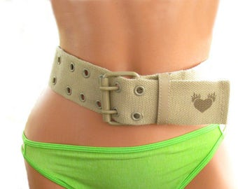 canvas belt - Women's belt, tan belt - wide belt - adjustable belt - vegan accessories belts , # B 58