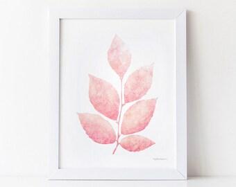 Pink Leaves, Girls Pink Wall Decor Print, Girls Room Decor, Light Pink Nursery Art, Pink Wall Art PRINTABLE Pastel Pink Decor - Feminine Art