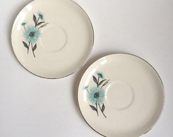 2 vintage turquoise flower saucers, silver rimmed