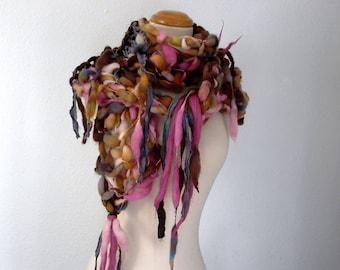 flight of fancy. handknit art yarn scarf . eco friendly sustainable knit scarf .  merino wool sari silk warm winter scarf . brown pink blue