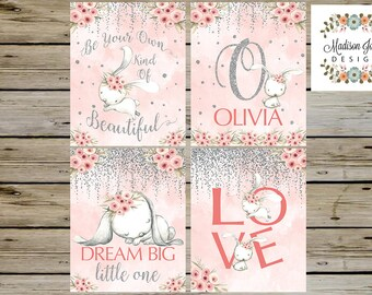 BEAUTIFUL Nursery Baby Wall Art, Pink Girl Nursery Bunny Rabbit Wall Art, Watercolor Bunnies,Be Beautiful Dream Big, LOVE, Instant Download