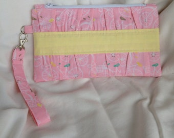 Pink bicycle clutch purse spring summer yellow bird cosmetic bag