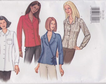 Blouse Pattern Shirt Top Button Women's Uncut Plus Size 20 - 24  Fast and Easy Butterick 3256