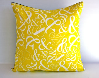 Yellow Cushion cover pillow / AMPERSAND cushion in yellow cushion/  yellow pillow cover organic cotton/ 16 x16 inch pillow.