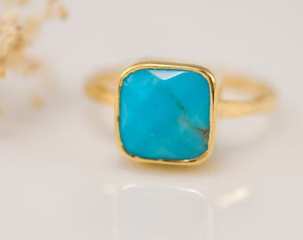 Turquoise Ring Gold, December Birthstone Ring, Gemstone Ring, Stacking Ring, Cushion Cut Ring, Natural Stone Ring, Boho Ring, Gift for Her