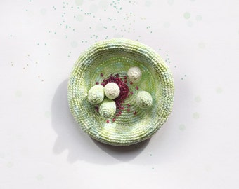 Crochet brooch - mint and elderberry