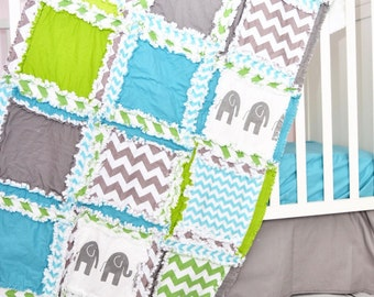 Elephant Baby Quilts - Turquoise / Gray / Green Crib Size Rag Quilt - Jungle Crib Bedding - Safari Nursery Bedding For Boys - Baby Boy Quilt