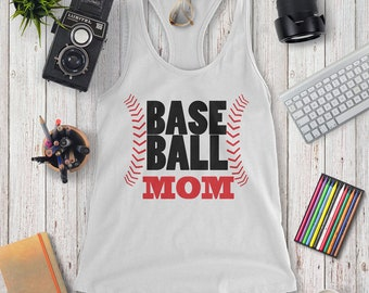 Base Ball Mom, T-shirts for women, Tank, Racer Back, Mom, Plus Size, Graphic Tee T-Shirts, Mother's Day