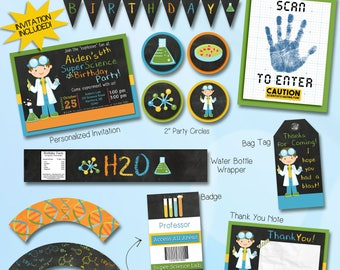 Science party decorations / science party invitation