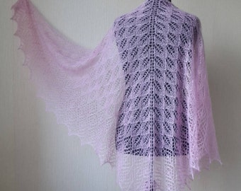 Knitted Pink Lace Mohair shawl, Evening wraps shawls, Wedding shawl, Knit mohair silk shawl, Lace knit shawl, Knitted shawl, Gift for women