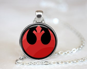 Rebel Alliance Symbol Star Wars Inspired Glass Pendant, Photo Glass Necklace, Glass Keychain