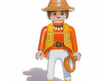 Kids Room Art, Playmobil Safari Girl, Kids Art Prints, Toy Art Prints, Girls Room Decor, Childrens Wall Art, 8x10 Art Print, Playmobil Art