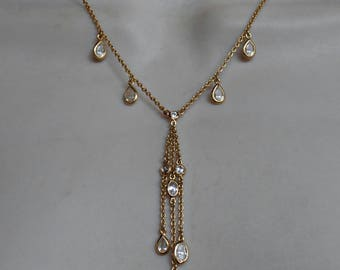 Sterling Crystal Station Necklace, Open Bezel, Lavalier Tassel, Gold Vermeil, Wedding Bridal Jewelry