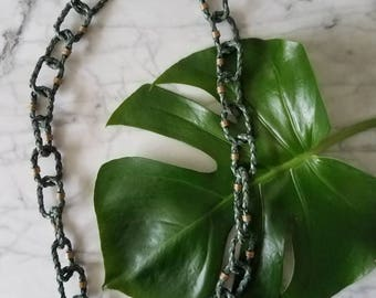 Vintage TEAL LEATHER Chained Braided Necklace