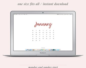 2018 Monthly Calendar Desktop Background and Wallpaper | Rose Gold Texture | Instant Download | Laptop and iPad Organiser
