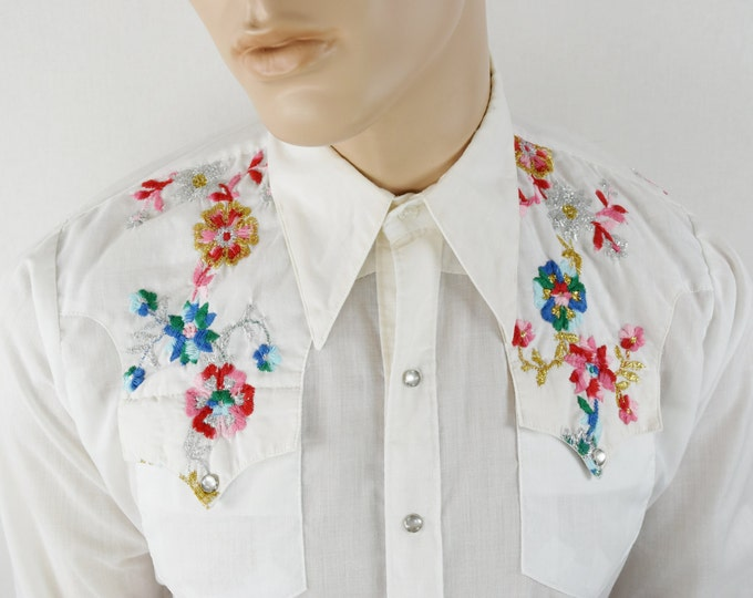 Vintage 1970's Men's Rockmount Ranchwear Embroidered Metallic Lame Flower Western HiPPiE HiPsTeR RoCk STaR Shirt Size L XL