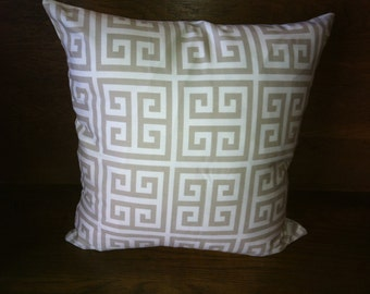 Decorative greek key pattern pillow cover,  size 18 x 18, color beige and white.