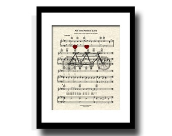All You Need Is Love Song Sheet Music Tandem Bicycle Art Print, Custom Wedding Gift, Custom Anniversary Gift, Personalzied, Names and Date