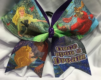 "Once upon a dream - Sleeping Beauty ""TEXAS/CHEER"" LARGE Size Glitter bow"
