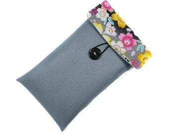housse iPhone 6, iPhone 6S , iPhone 7 , iPhone 8 femme grise imitation cuir et tissu japonais - Cadeau femme
