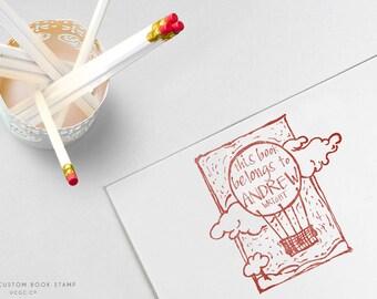 This Book Belongs To BALLOON STAMP - Custom NAME Stamp, Hand-Drawn Stamp, Children's Books, Kid's Gift