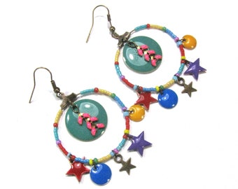 Earrings Creole, sequins and stars enamel, multicolored - bronze