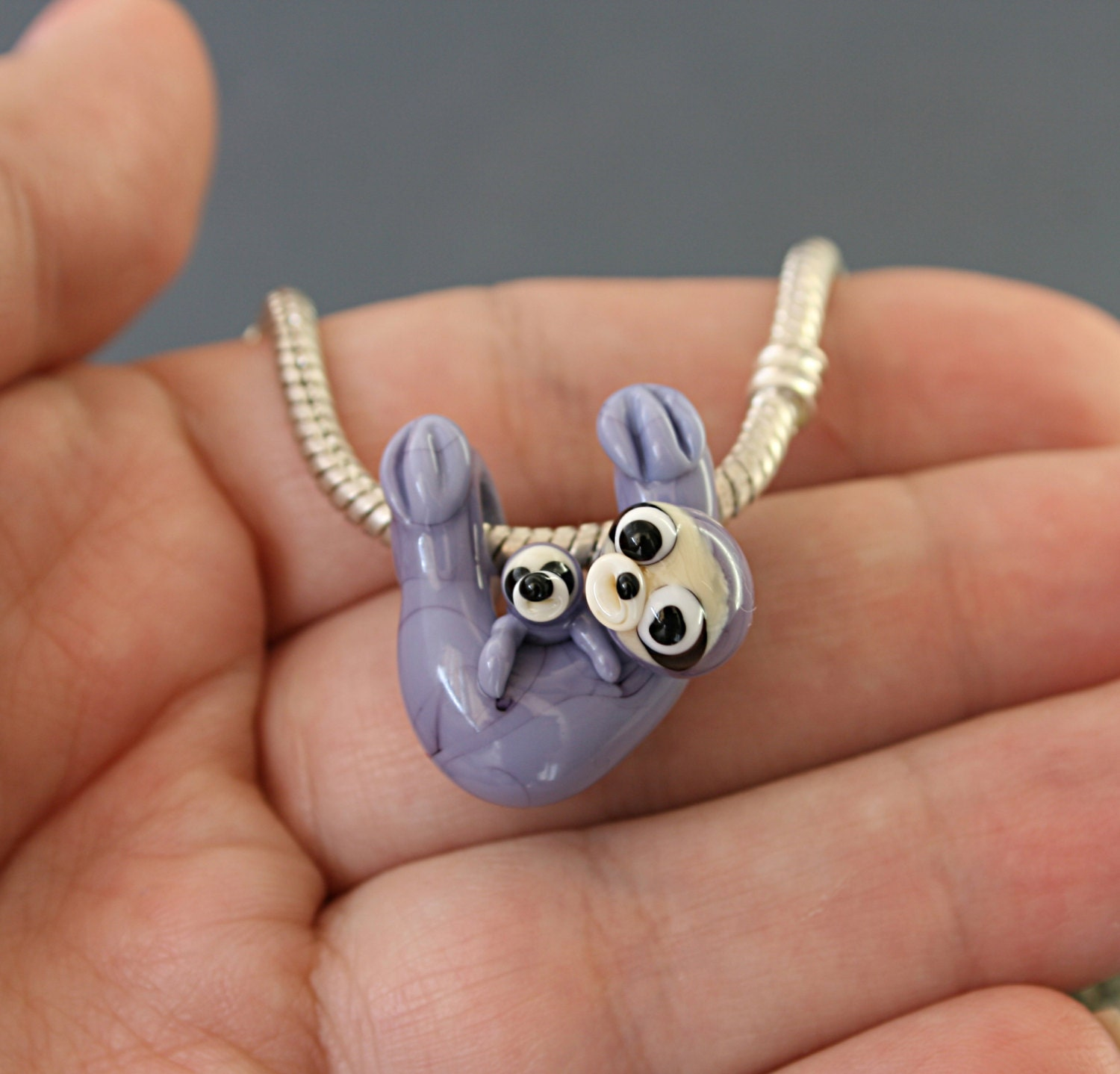 ceramic pin necklace sterling hanging silver handmade pendant sleepy porcelain sloth on sculpted
