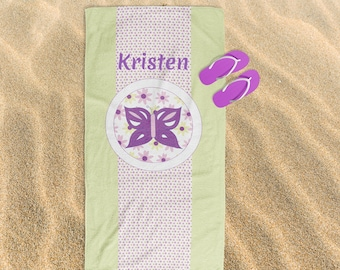 Butterfly, Beach Towel, Floral, Personalized Gift, Birthday Gift, Nature Lover, Flowers, Purple, Bathroom Decor, Summer, Back to School