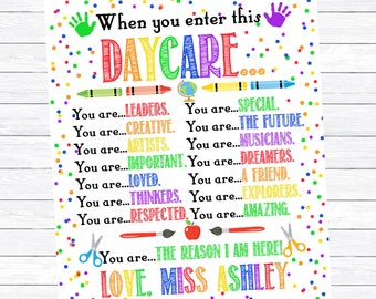 Daycare Print, Daycare Provider Gift, Childcare Provider, When you enter this Daycare, Early Childhood Educator, ECE, Digital Download Print