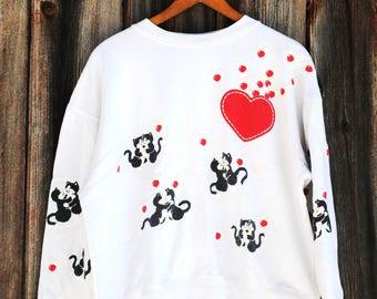 Cute Kawaii Kitty Vintage Sweatshirt Epic 80s Style