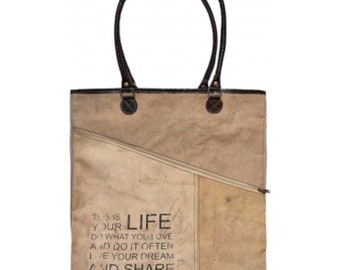 This is Your Life; Live Your Passion Tote Bag Purse Asymmetrical Zipper Recycled Military Tent Canvas