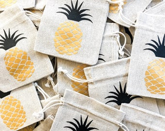 Pineapple Favor bag, Aloha favor bag, Hawaii favor bags, destination wedding favors, wedding welcome bag, tropical party favor