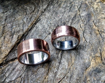 Brushed Copper Aluminum, Sterling Ring Band.  6mm . 10mm.wide.