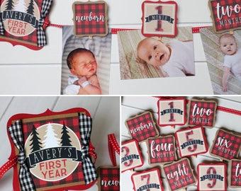 Lumberjack Birthday Photo Banner - Buffalo Plaid Winter First Birthday 12 Month Photo Banner - Baby's First Year Photo Banner - Red & Black