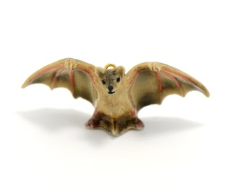 1 - Porcelain Brown Bat Hand Painted Glaze Ceramic Animal Small Bat Bead Jewelry Supplies Little Critterz Porcelain (CA257)